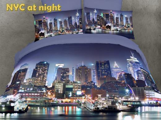 NYC At Night Duvet Cover Set