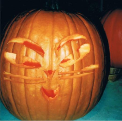 A cat faced pumpkin