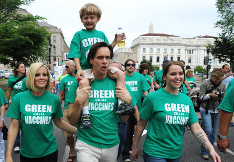"Jenny, son Evan, Jim Carrey and Carrey's daughter, Jane, take part in the ""Green Our Vaccine"""