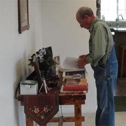 Local historian, Steve Taylor, Fremont, Utah, at booktable