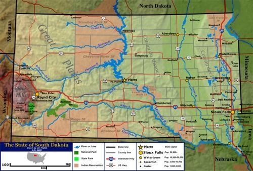 Terrain and geographic features map of South Dakota
