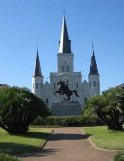 St. Louis Cathedral in New Orleans with Statue of Gen. Jackson
