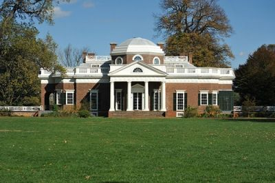 Monticello, Jefferson's home, from the west lawn