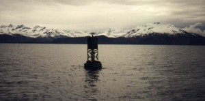 Bouy in the waters of Prince Willam Sound that marks the area of the Exxon Valdez incident