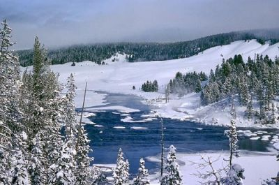 Winter in Yellowstone National Park; Courtesy of Wikimedia Commons