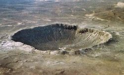 Meteor Crater just south of I-40 in northern Arizona