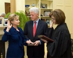 Hillary Clinton taking the oath as Secretary of State