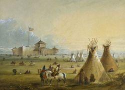 Fort Laramie before 1840 in Miller painting