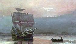 Painting of Mayflower in Plymouth Harbor, Massachusetts