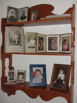 Shelf of family photos