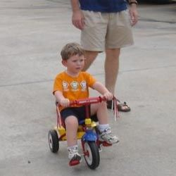 Trial run on his new Trike