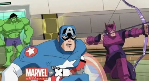 Hulk, Captain America and Hawkeye