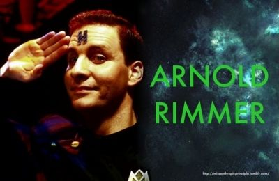 Arnold Rimmer a deceased crew leader, interacts with the team as a hologram. Holograms have an H tatooed on the forehead