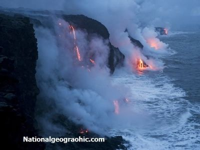 Hawaii Lava Flowing into the Pacific Ocean