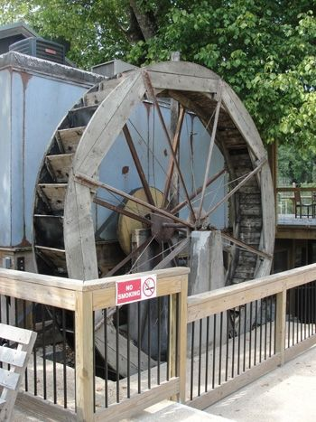 A close up of the Water Wheel on the north end of the mill building. It is no longer in a working position, of course.