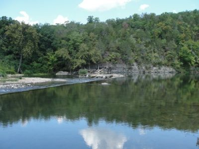 Dam and pond on North Fork of White River; view upstream from Old Dawt Mill