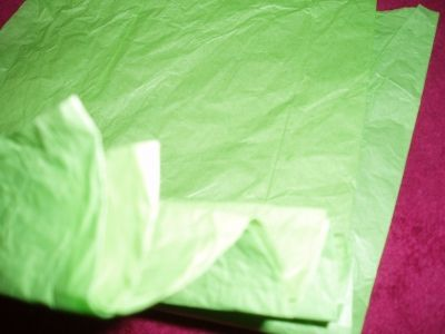 Then fold the tissue back and forth in a fan-fold to the opposite end.