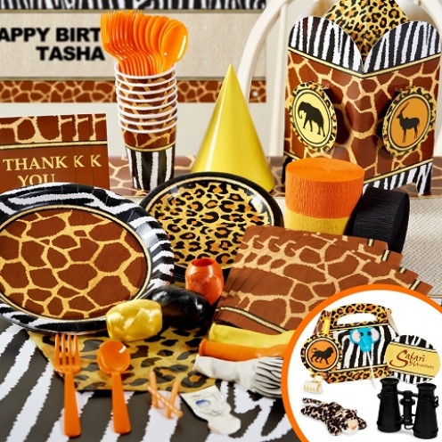 Wild animal print party supplies for Animal print party decoration ideas
