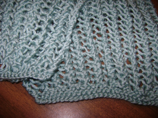 Lace scarf made with a single skein of bamboo-blend yarn
