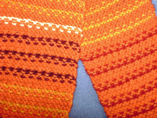 Waste-Not Amity Scarf uses scraps to create the color pattern