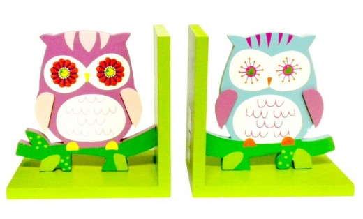 Young's 2-Piece Owl Wood Bookend Set