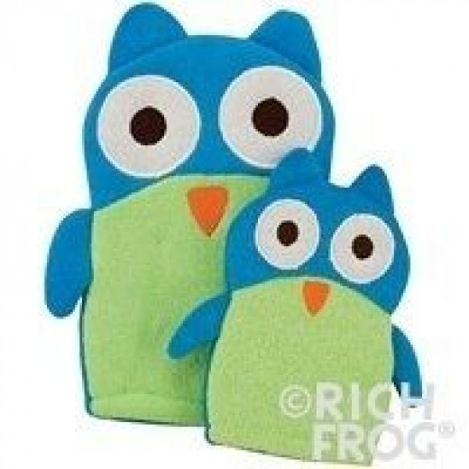 Rich Frog Mom and Mini Wash Mitts, Owls