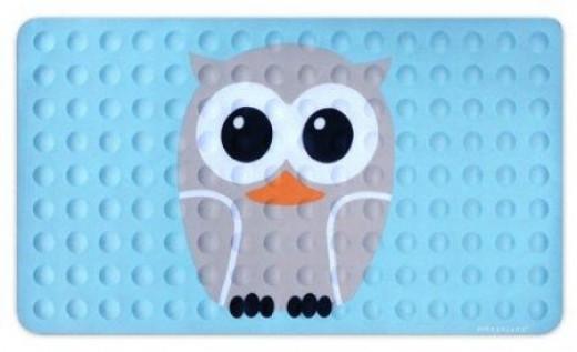 Kikkerland Owl Natural Rubber High Grip Suction Cup Bath Mat