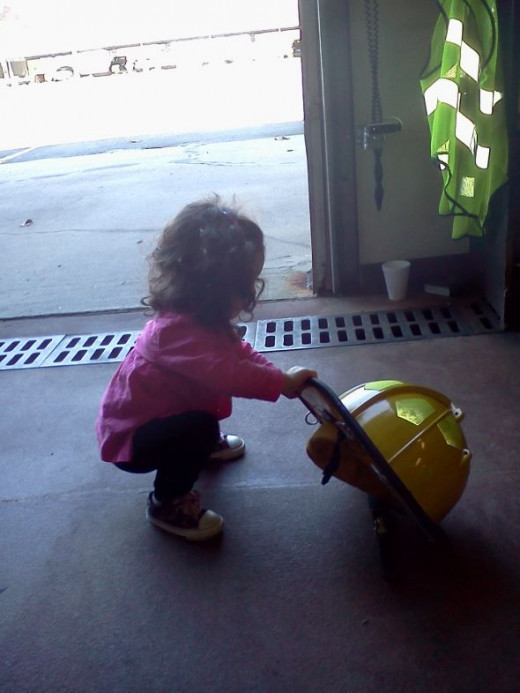 The littlest rookies start out with a yellow helmet, just like I did when I started