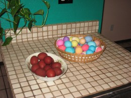 Dyed Easter Eggs on Kitchen Counter