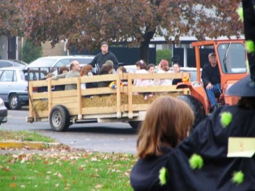 Halloween hay ride in action.