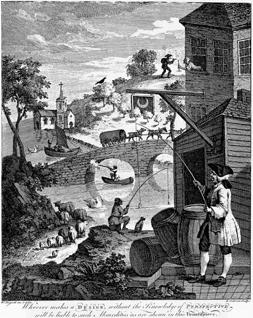 """The importance of knowing perspective"" (1753) by William Hogarth Satire on ""False Perspective"": Whoever makes a Design without the knowledge of Perspective will be liable to such absurdities as are shewn in this Frontispiece."