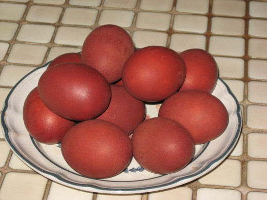 Easter Eggs dyed Russian style by boiling them with onion skins added to the pot