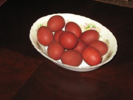 Bowl of Easter Eggs dyed in the Traditional Russianway of adding onion skins to the water when eggs are boiled