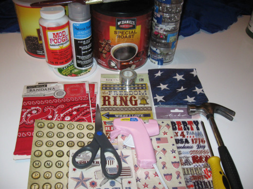 All the stuff, cans, glue, stickers, bandanna, napkins, acrylic