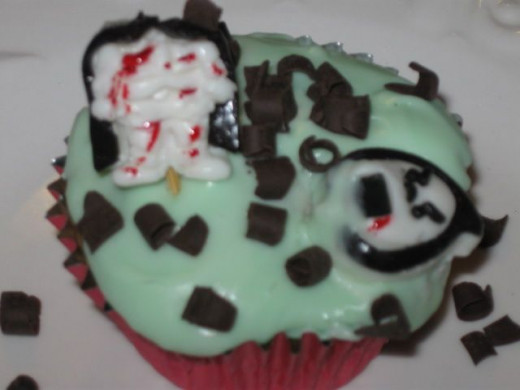 Headless gummy mummy bleeding cupcake