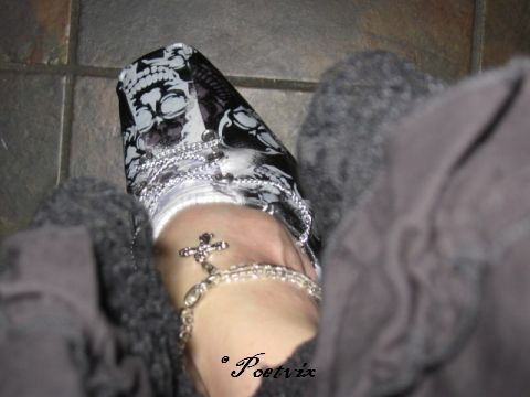 Upcycled shoes from bandannas - Gothic Chic