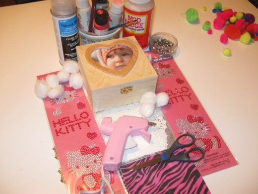 1 box, stickers, beads, napkins and Mod Podge