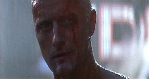 "image credit - ""Blade Runner 1983"" by Bill Lile depicting a video still of ""Roy"" played by Rutger Hauer"