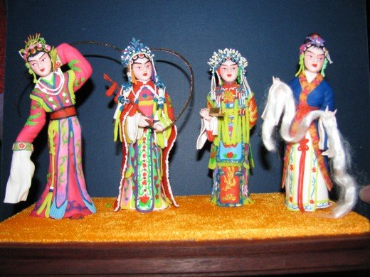 More of Pan Dawen's home museum of dough art figurines.
