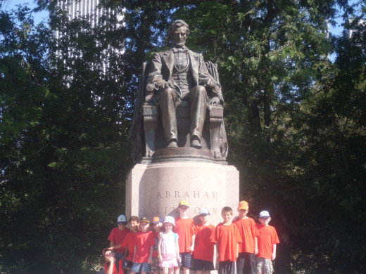 In front of the Abraham Lincoln Statue near Buckingham Fountain