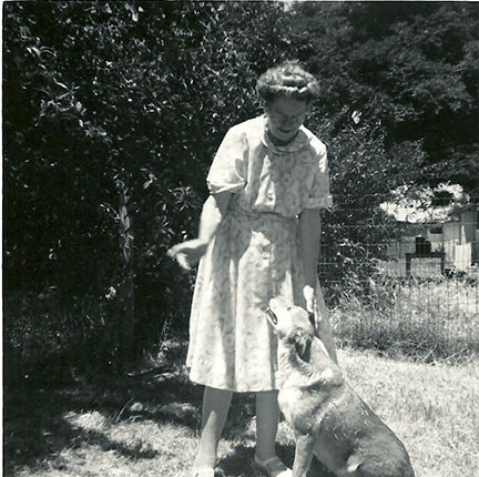 """The neighbor lady and her dog """"Lady""""."""