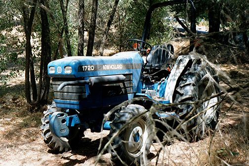 The blue tractor made an interesting painting.
