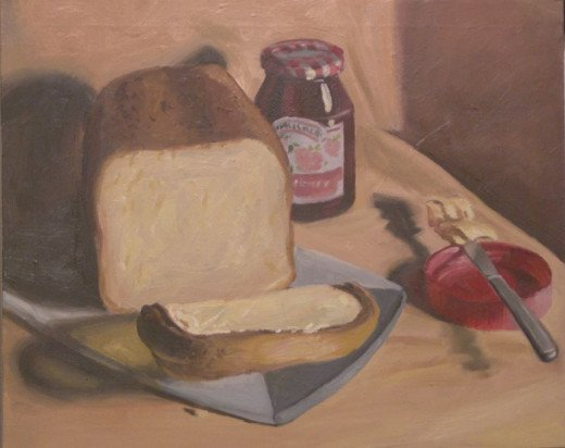 I love my bread machine so much I painted an oil painting of the bread!