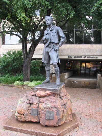 This statue located at the front entrance of the National Headquarters of the Boy Scouts in Irving, Texas.
