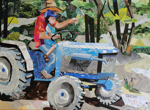 The Blue Tractor Collage