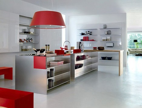 Clean lines with red accents. Photo courtesy of : topsandmore.com