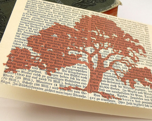 A tree has been printed onto an old book page - and I think the fancy German print makes the card extra pretty and interesting.