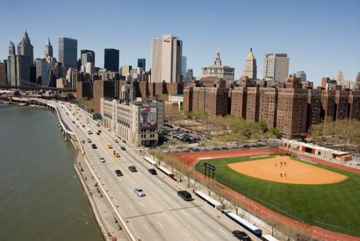 FDR Drive, Manhattan, New York City (view from the Manhattan Bridge).