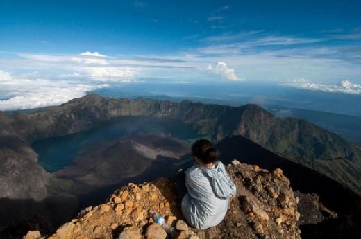 Mount Rinjani is an active volcano on the Indonesian island of Lombok.
