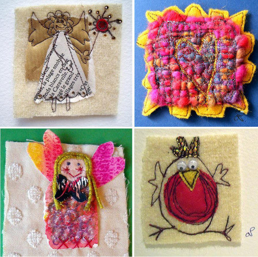 Really interesting designs can be created by mixing media and techniques together to create textile toppers. The ones above use combinations of knitting, felting, paper, fabric, felt, machine stitches and even burnt holes!